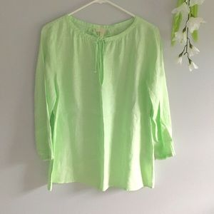 Eileen Fisher Irish Linen Peasant Blouse Tie Neck